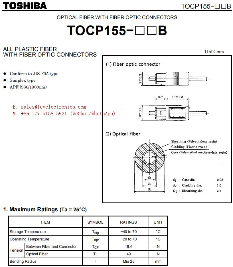 Specification of TOCP155 TOCP 155 Toshiba Optical Fiber Cable